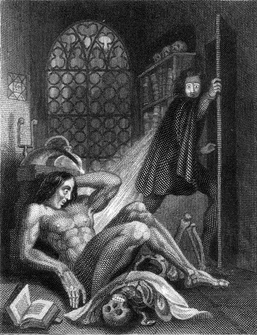 Dr. Frankenstein expressing horror at his creation in an illustration by British literary painter Theodor von Holst, Tate Britain, London [Public Domain]