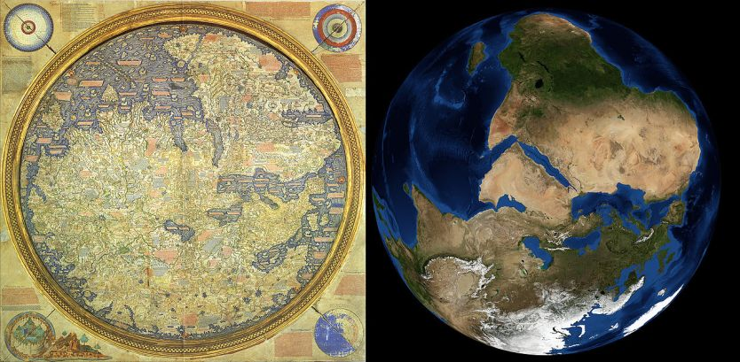 Fra mauros world map on art and aesthetics the fra mauro map against a satellite image taken by nasa wikipedia public domain gumiabroncs Images