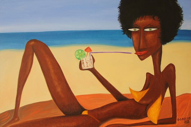 """Drink na praia (Fluid Bodies) by Gabriel Grecco. Used with permission. """"Drink at the beach""""."""