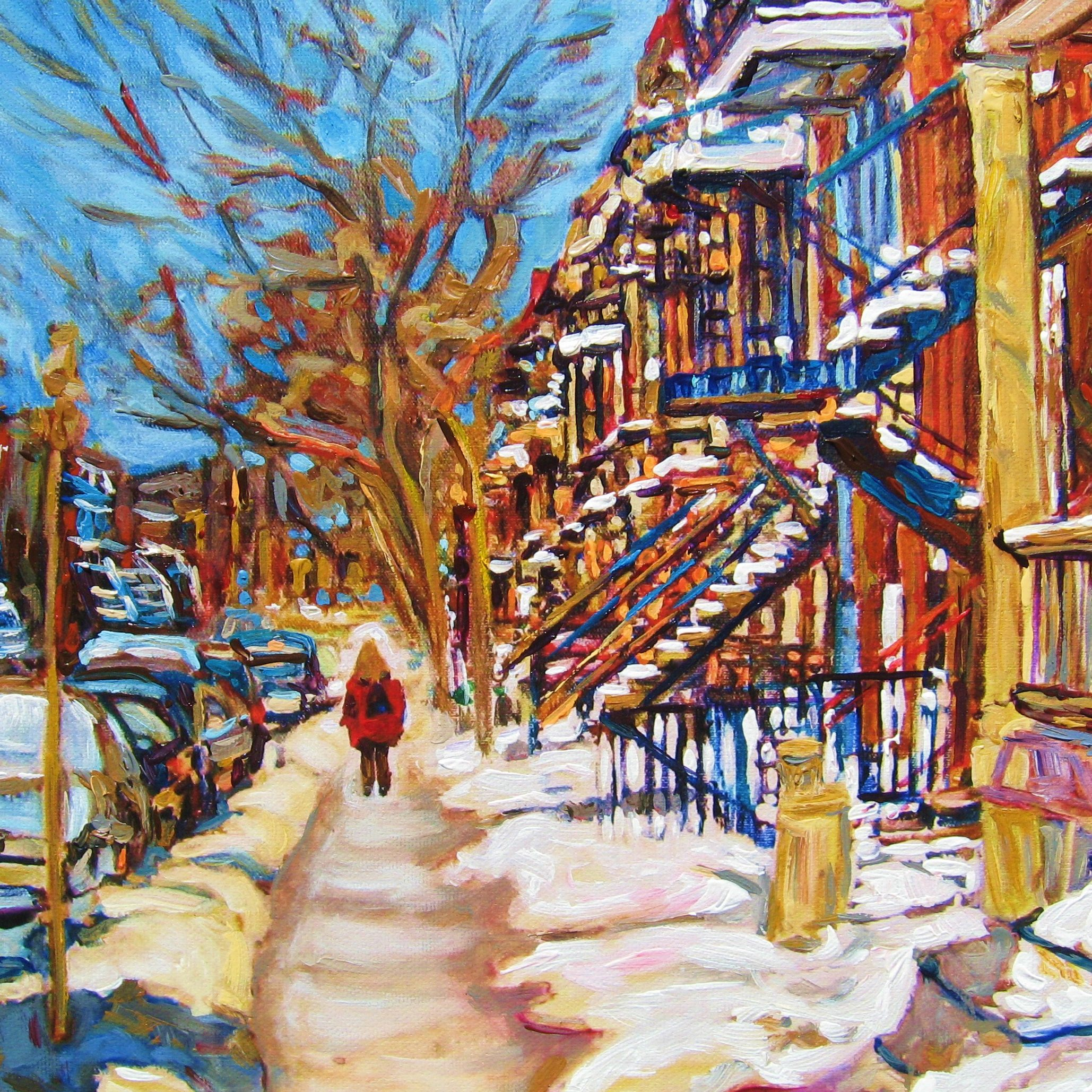 Snow, Hockey and Local Shops: Charming Montréal Street Scenes by Carole Spandau