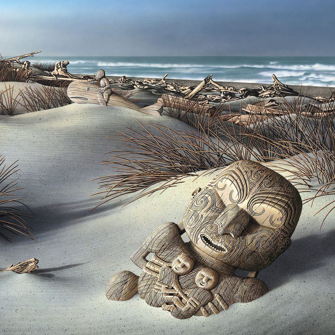 Warriors and Chiefs, Canoes and Creatures: Paintings on Iconic Maori Carvings by Alvin Pankhurst